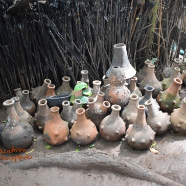 odd looking pots used to offer sacrifice to Walumbe